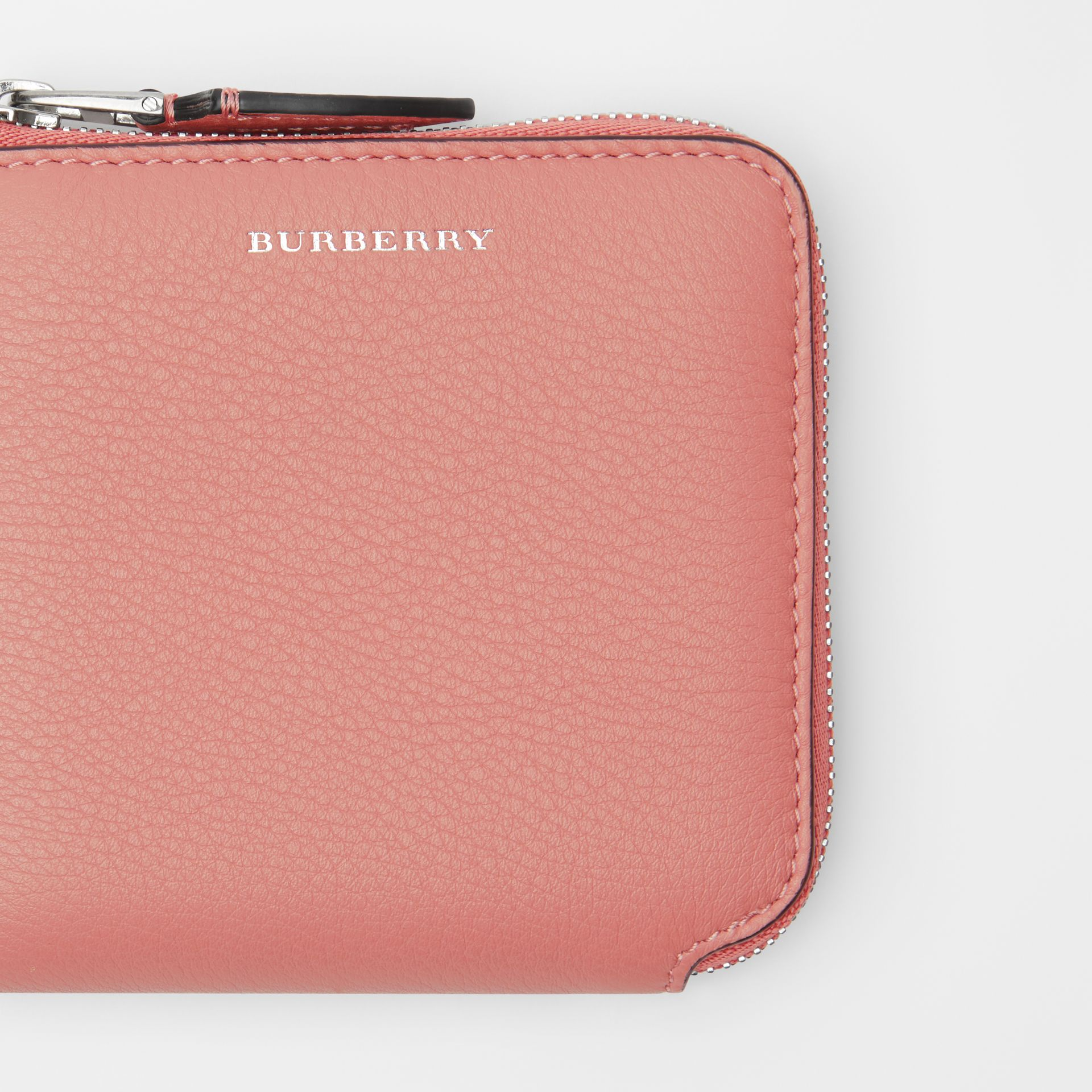 Grainy Leather Square Ziparound Wallet in Dusty Rose - Women | Burberry - gallery image 1