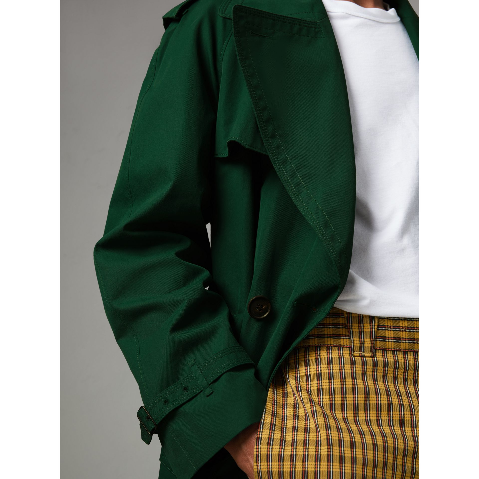 Gun-flap Detail Cotton Gabardine Trench Coat in Deep Veridian Green - Men | Burberry - gallery image 1