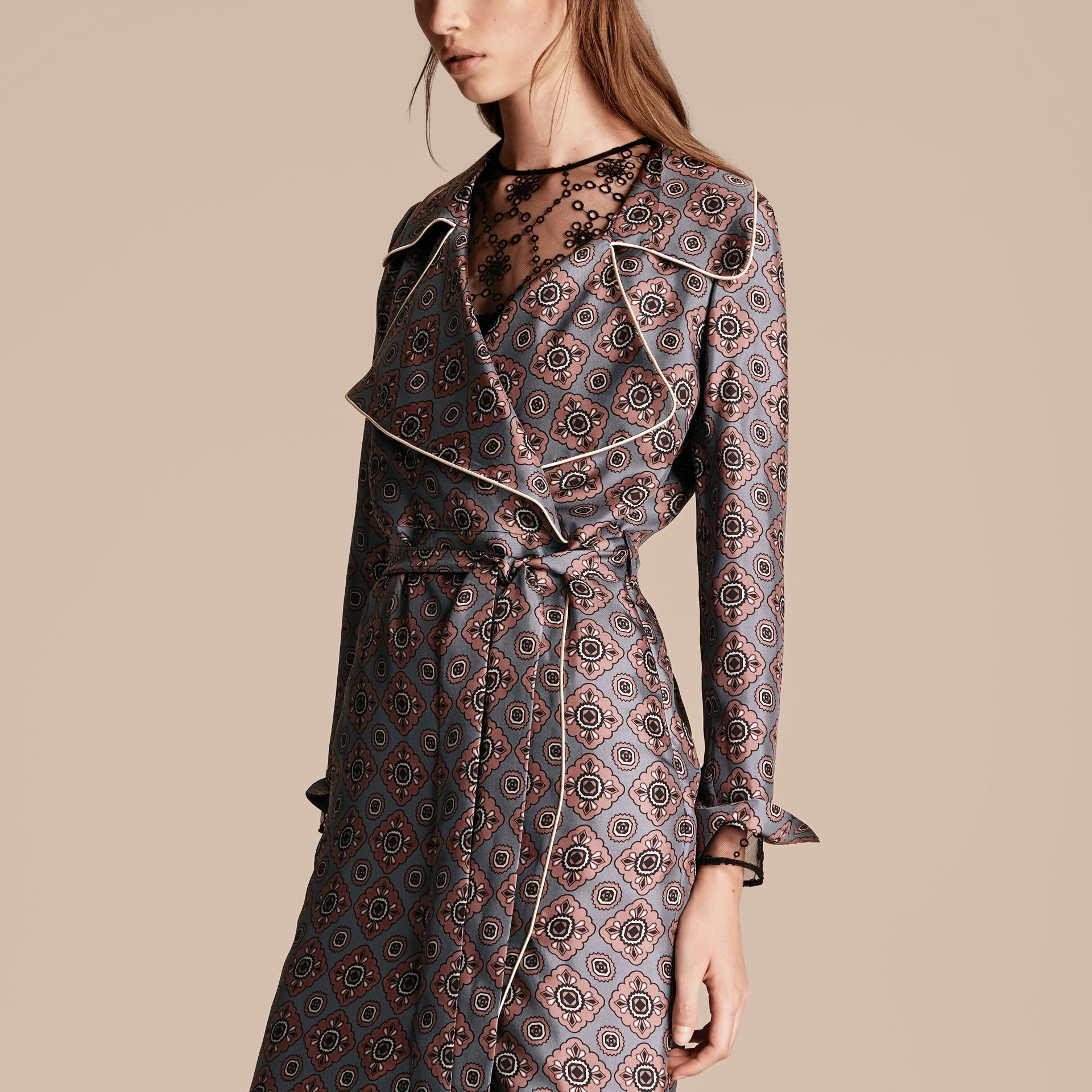 Light steel blue Printed Silk Wrap Trench Dress with Piping - gallery image 5