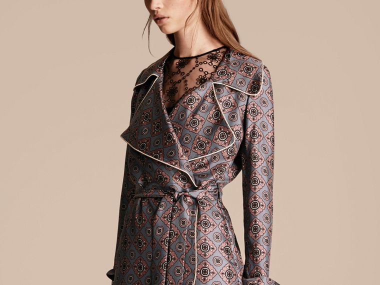 Light steel blue Printed Silk Wrap Trench Dress with Piping - cell image 4