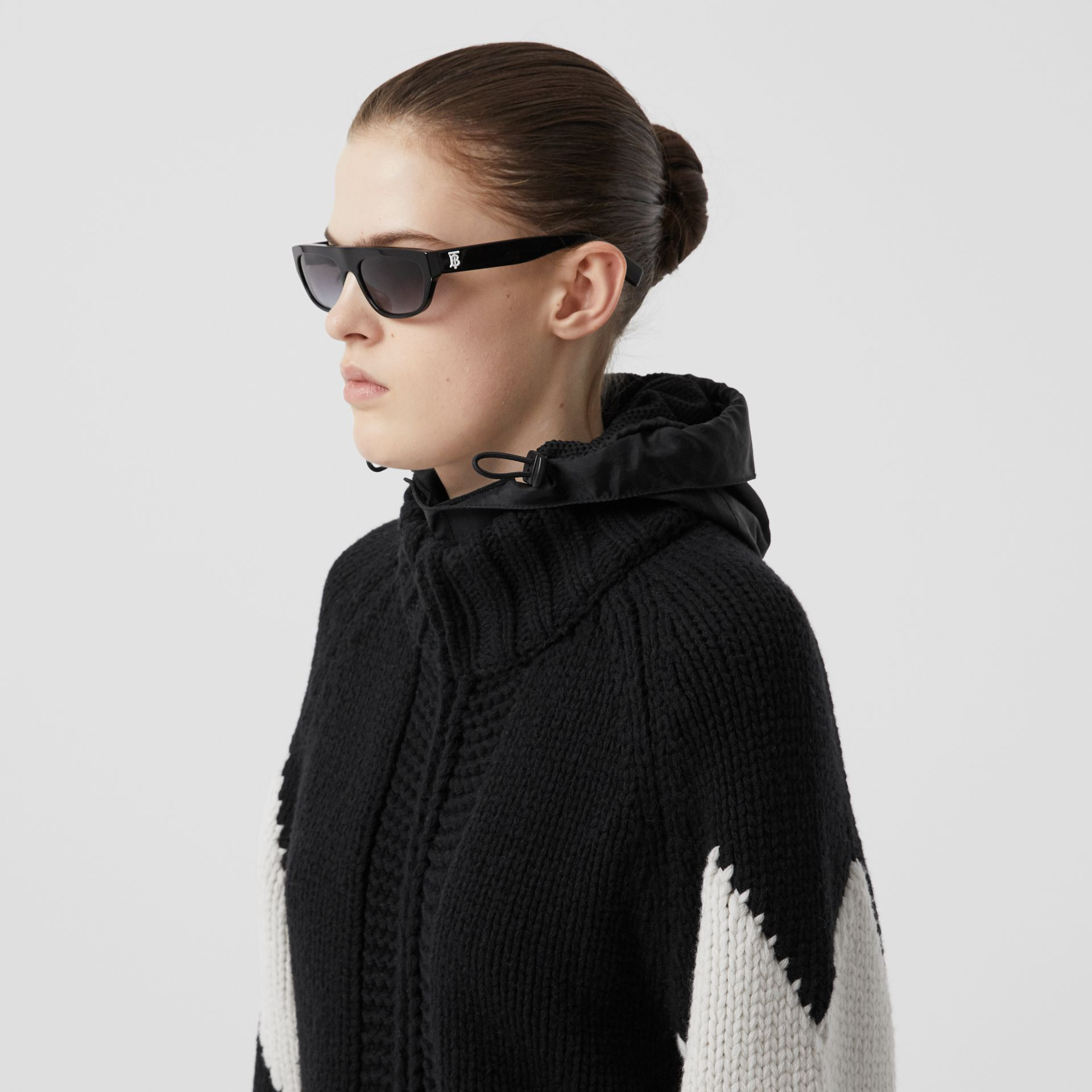 Detachable Hood Two-tone Wool Cashmere Cardigan in Black - Women | Burberry - gallery image 1
