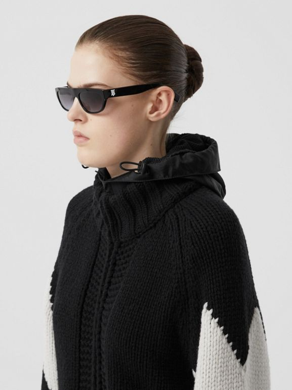 Detachable Hood Two-tone Wool Cashmere Cardigan in Black - Women | Burberry - cell image 1