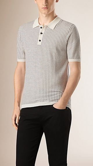 Micro Pattern Wool Silk Polo Shirt