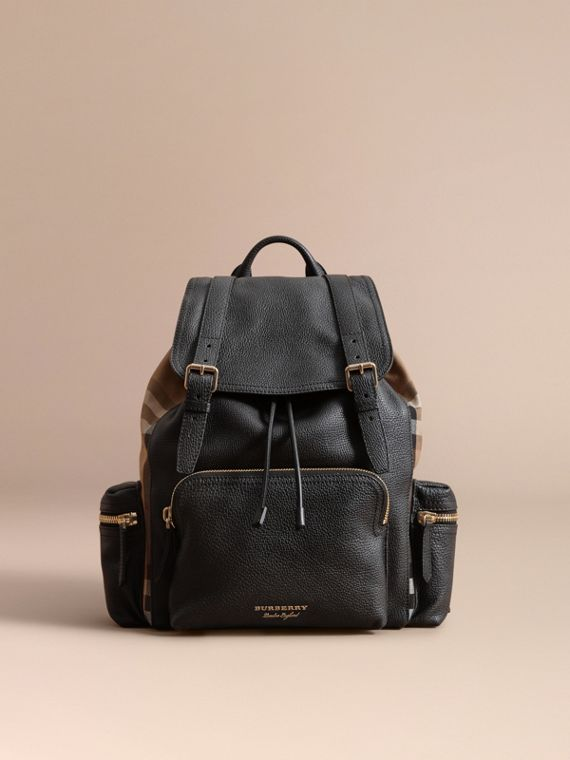 The Large Rucksack in Grainy Leather and House Check | Burberry