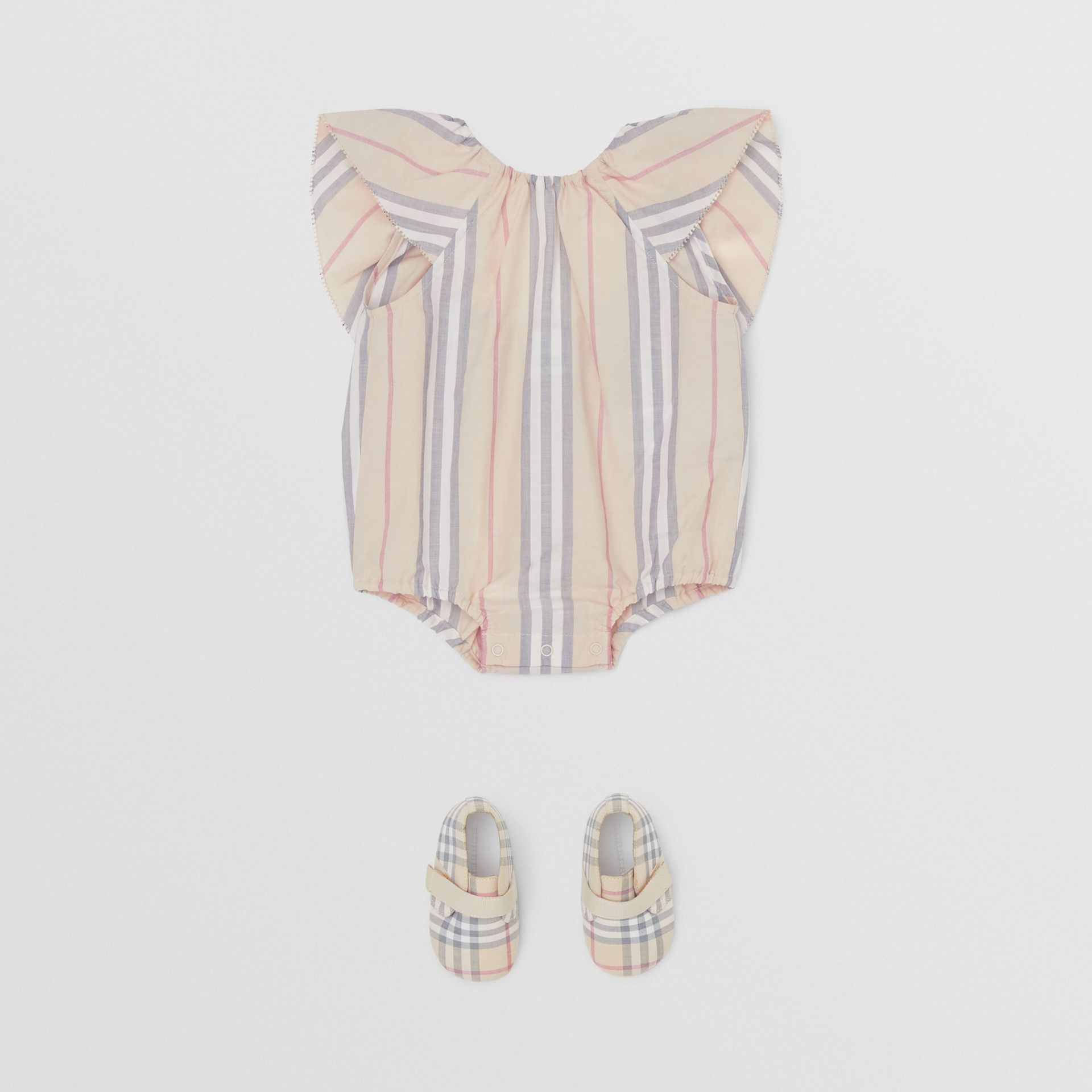 Ruffled Icon Stripe Cotton Bodysuit in Pale Stone - Children | Burberry United States - gallery image 2