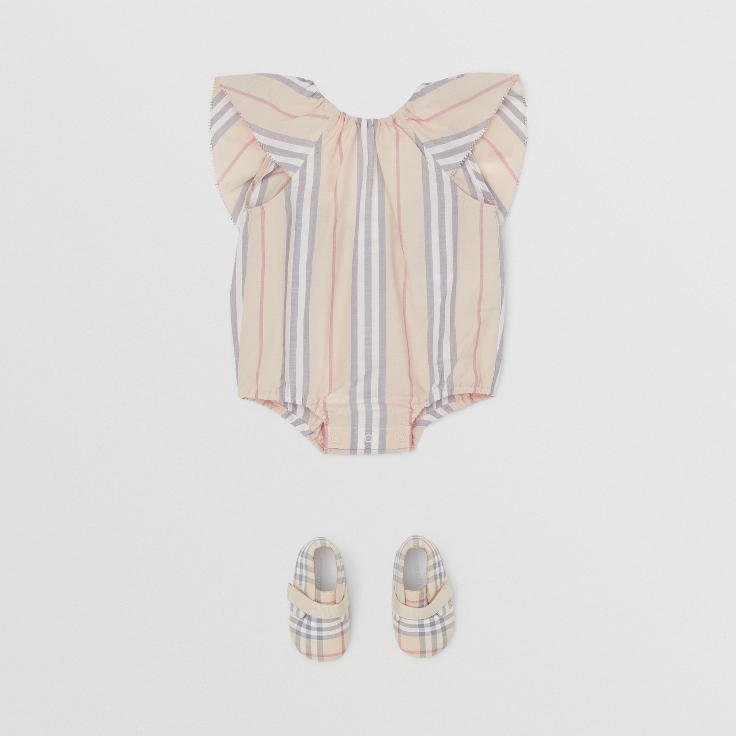 Ruffled Icon Stripe Cotton Bodysuit in Pale Stone - Children | Burberry - 3