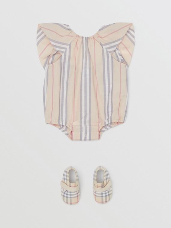 Ruffled Icon Stripe Cotton Bodysuit in Pale Stone