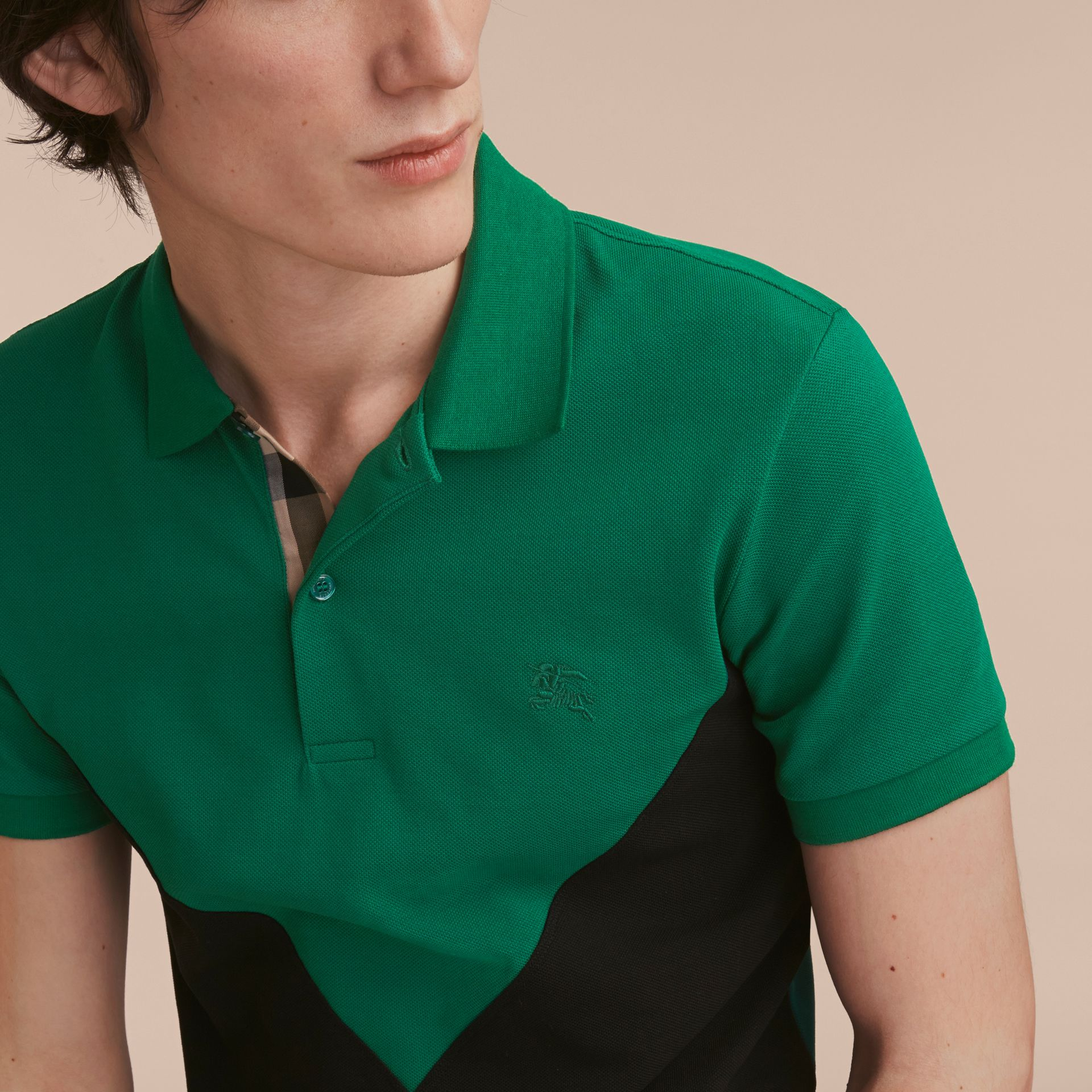 Geometric Motif Cotton Piqué Polo Shirt with Check Placket Bright Bottle Green - gallery image 5