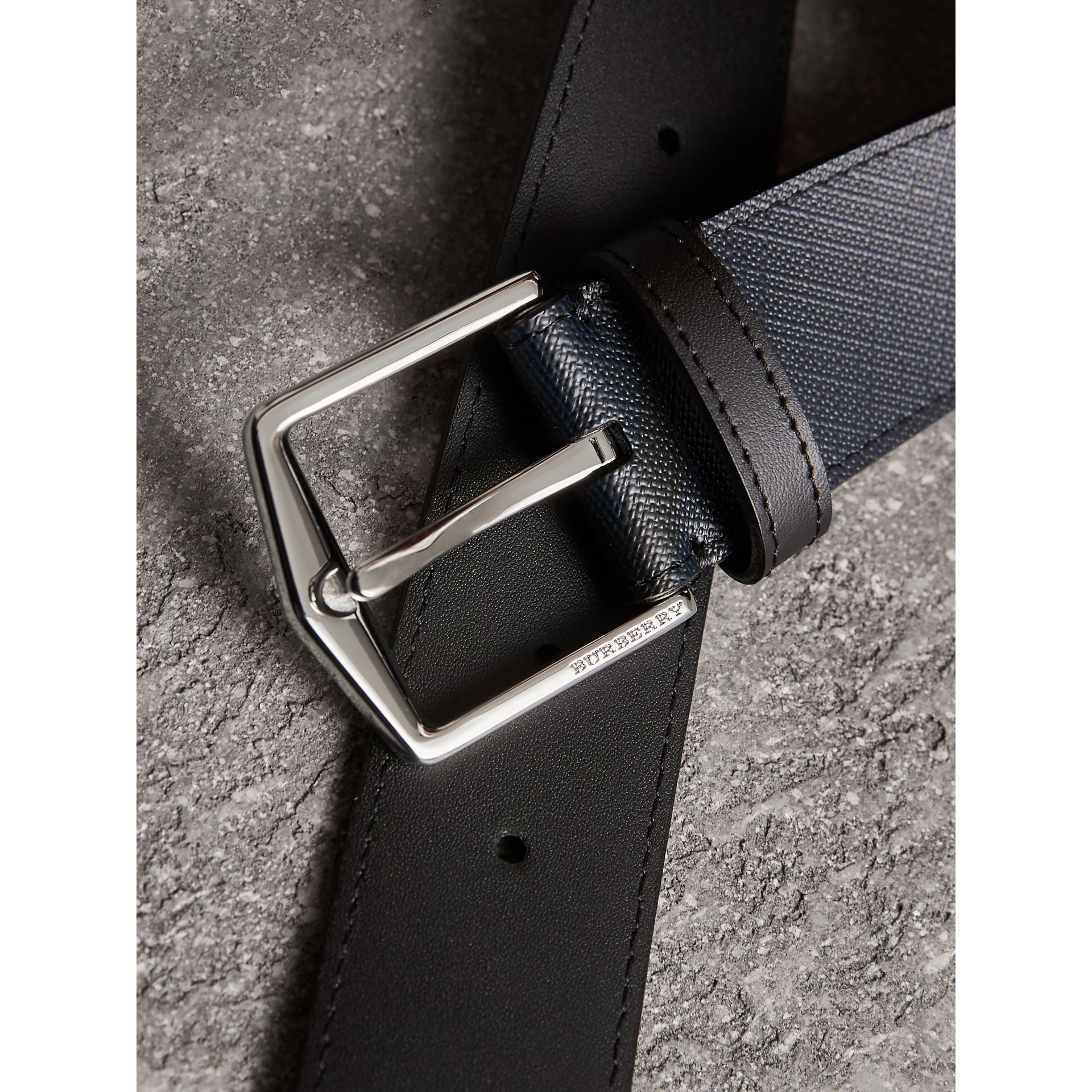 Leather Trim London Check Belt in Navy/black - Men | Burberry - gallery image 1