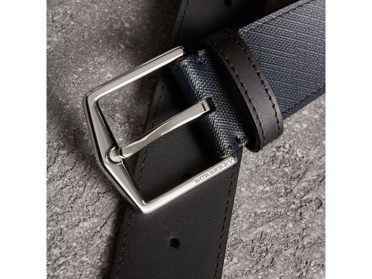 Leather Trim London Check Belt in Navy/black - Men | Burberry Canada - cell image 1