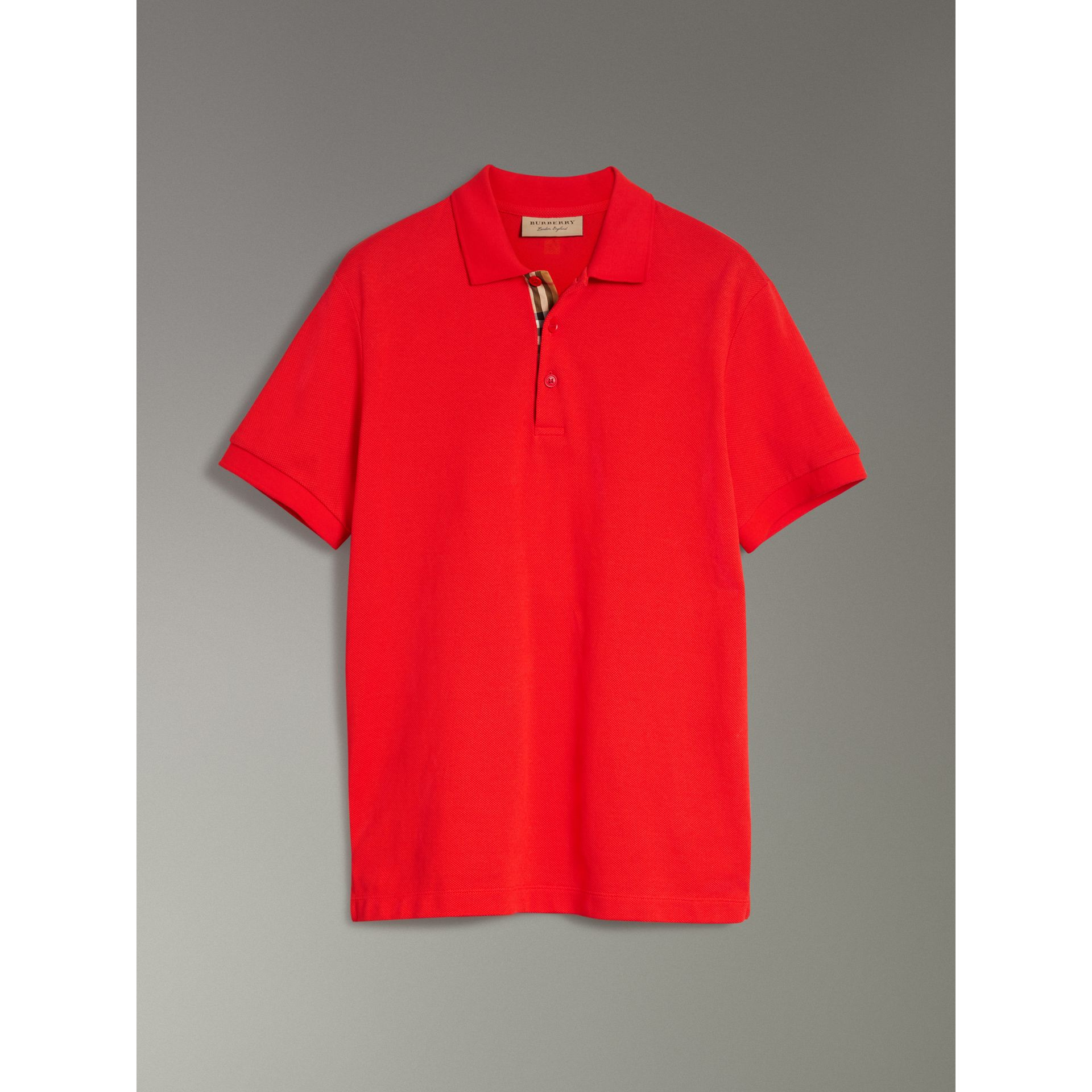 Check Trim Cotton Polo Shirt in Bright Red - Men | Burberry - gallery image 3