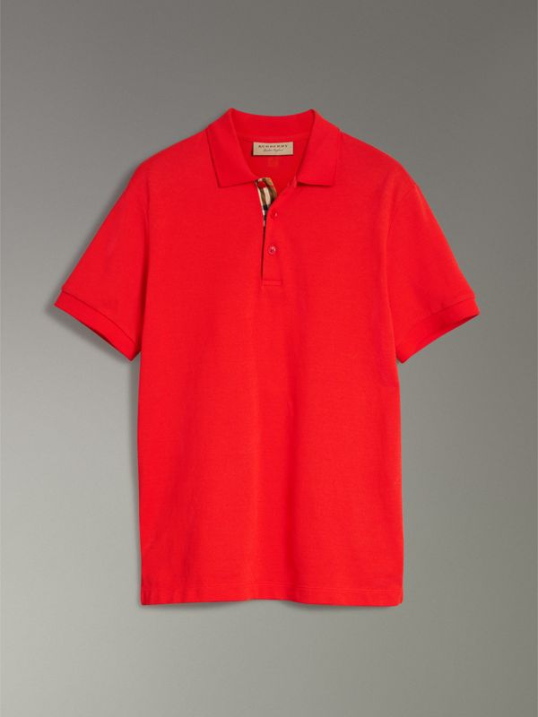 Check Trim Cotton Polo Shirt in Bright Red - Men | Burberry United Kingdom - cell image 3