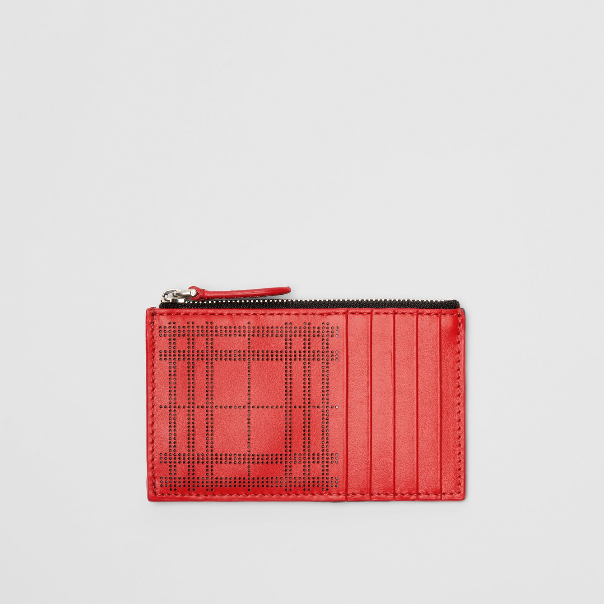 Perforated Check Leather Zip Card Case in Rust Red - Men | Burberry - gallery image 0