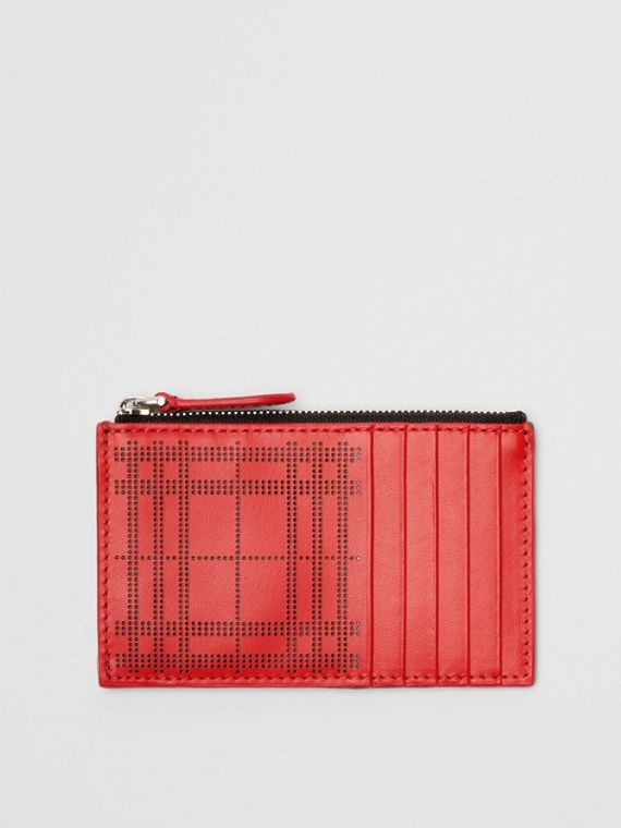 Perforated Check Leather Zip Card Case in Rust Red