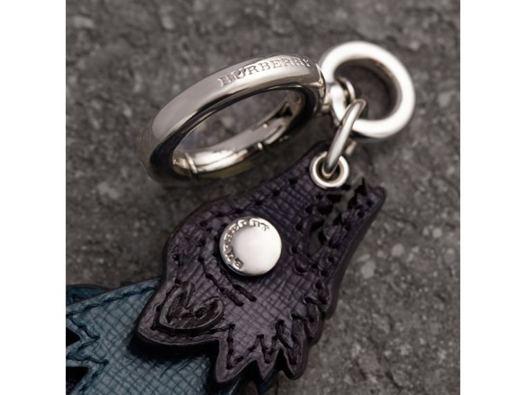 Beasts Leather Key Ring in Dark Navy - Men | Burberry - cell image 1
