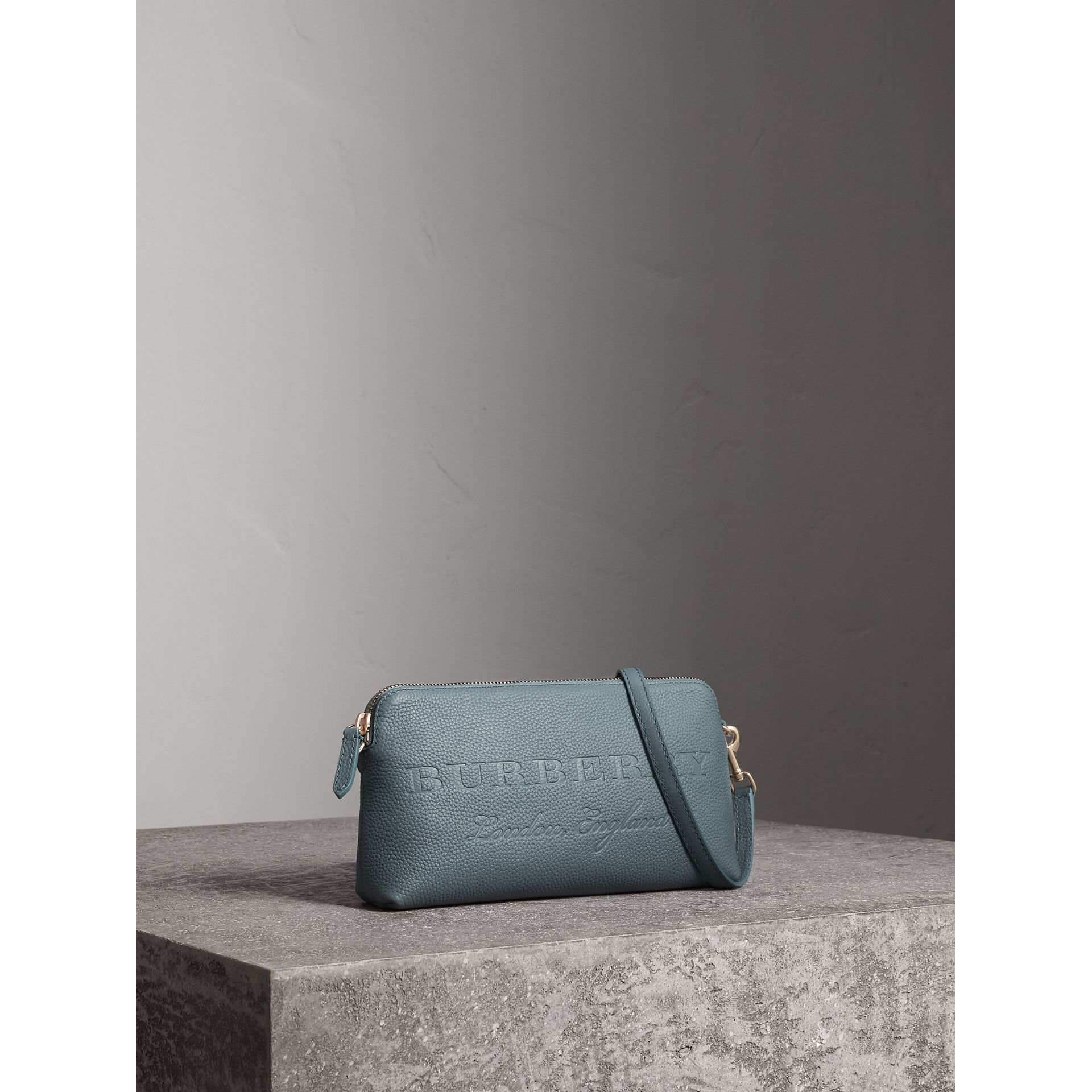 Embossed Leather Clutch Bag in Dusty Teal Blue - Women | Burberry - gallery image 7