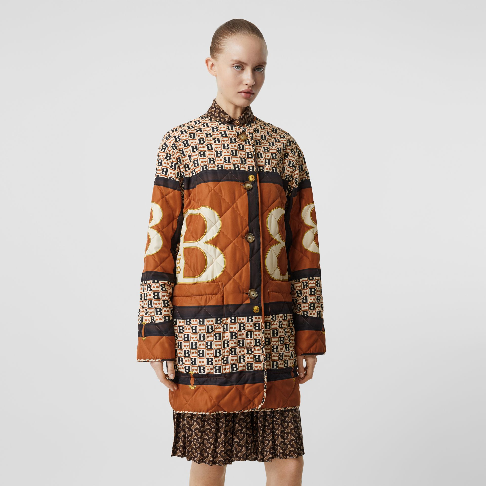 Archive Scarf Print Diamond Quilted Coat in Clay Sienna - Women | Burberry - gallery image 5
