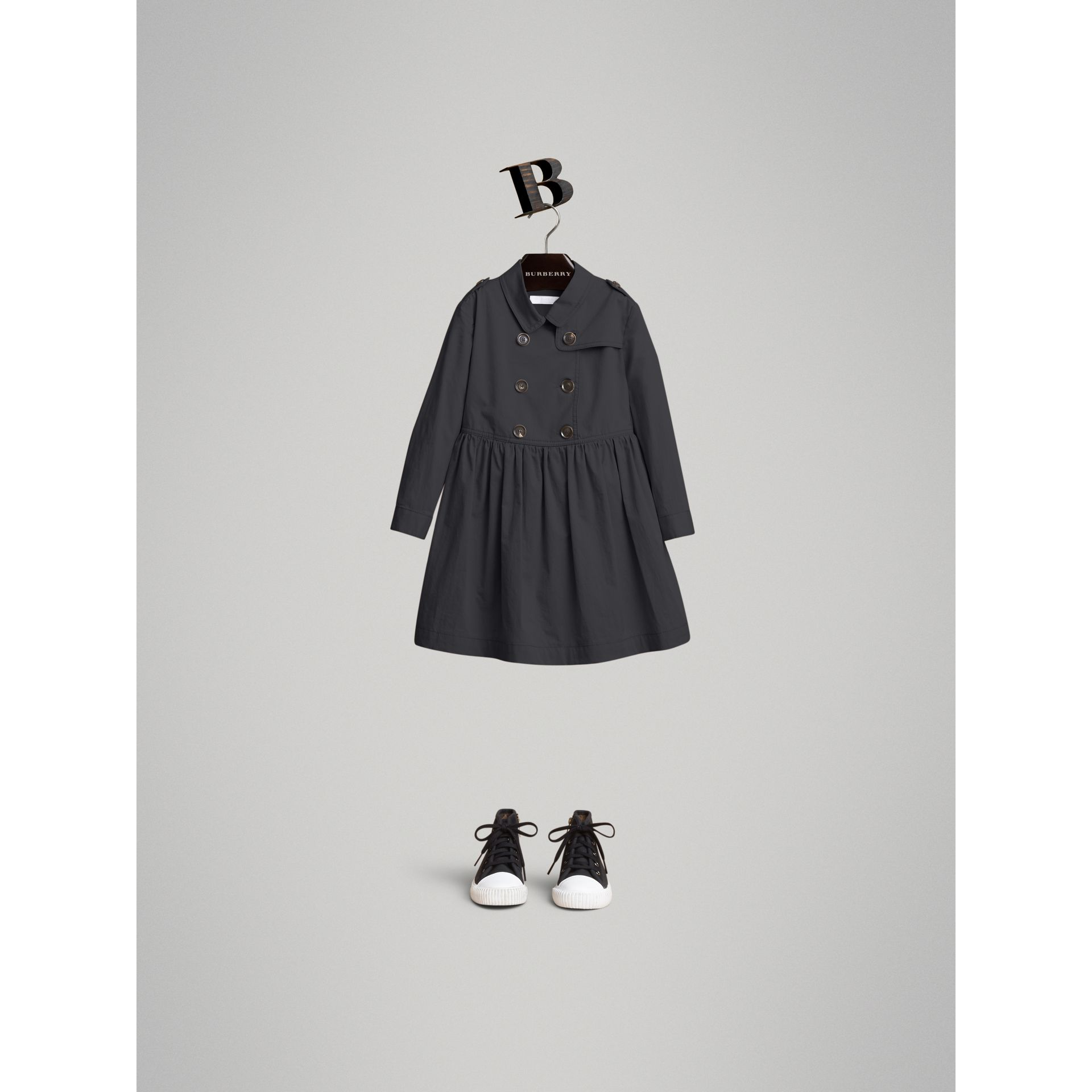 Check Detail Stretch Cotton Trench Dress in Midnight Blue | Burberry - gallery image 0
