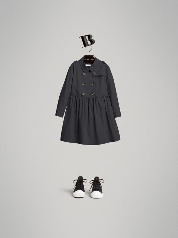 Check Detail Stretch Cotton Trench Dress in Midnight Blue
