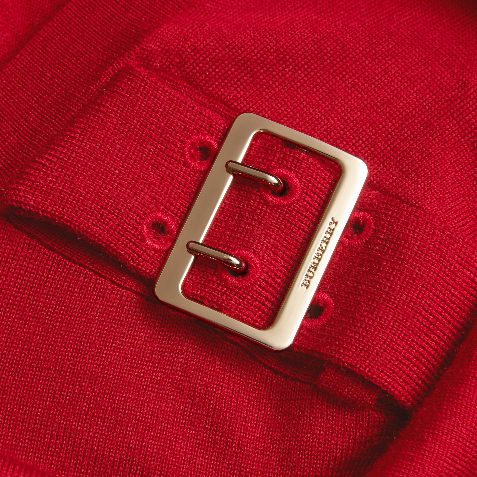 Buckle Detail Merino Wool Sweater in Parade Red - gallery image 2