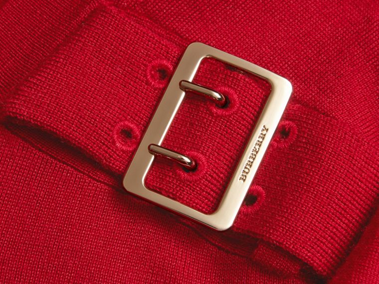 Buckle Detail Merino Wool Sweater in Parade Red - cell image 1