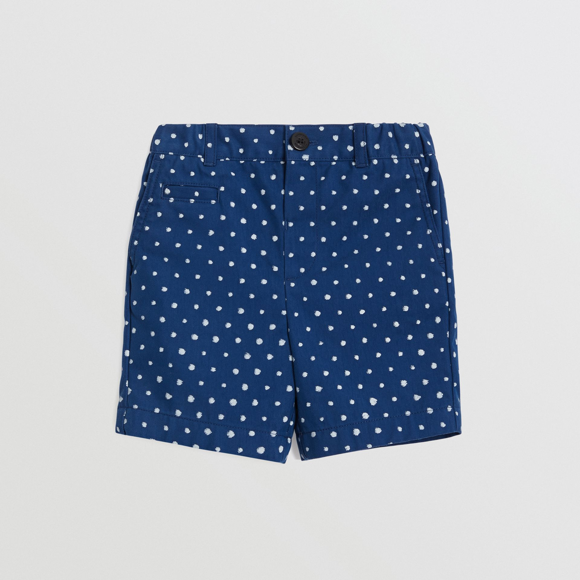 Spot Print Cotton Blend Shorts in Bright Navy - Children | Burberry Canada - gallery image 0