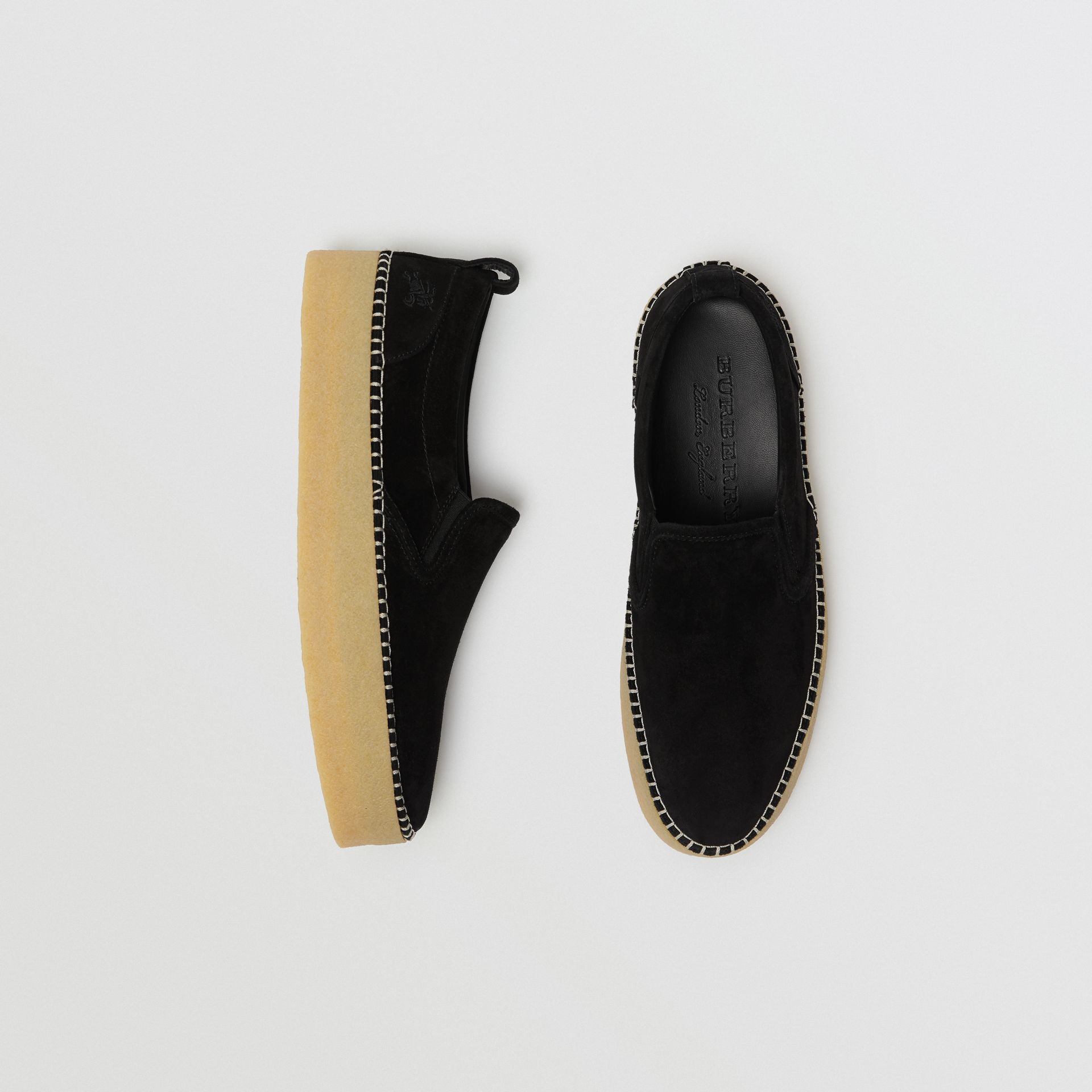 Suede Slip-on Sneakers in Black - Men | Burberry - gallery image 0