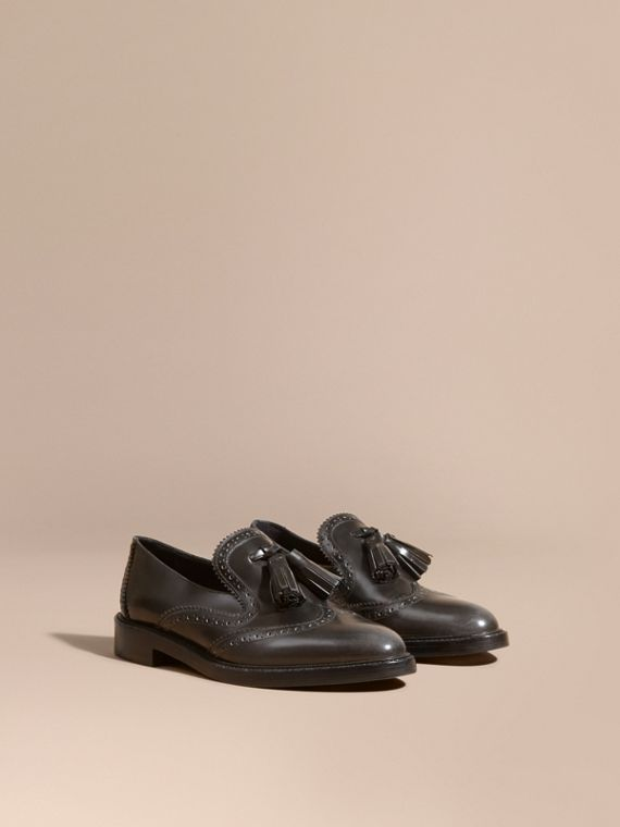 Dégradé Tassel Detail Leather Loafers Ink Grey