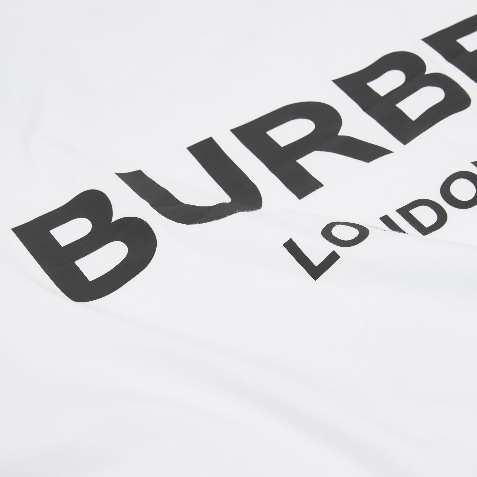 Logo Print Cotton Jersey Baby Blanket in White - Children | Burberry - gallery image 1