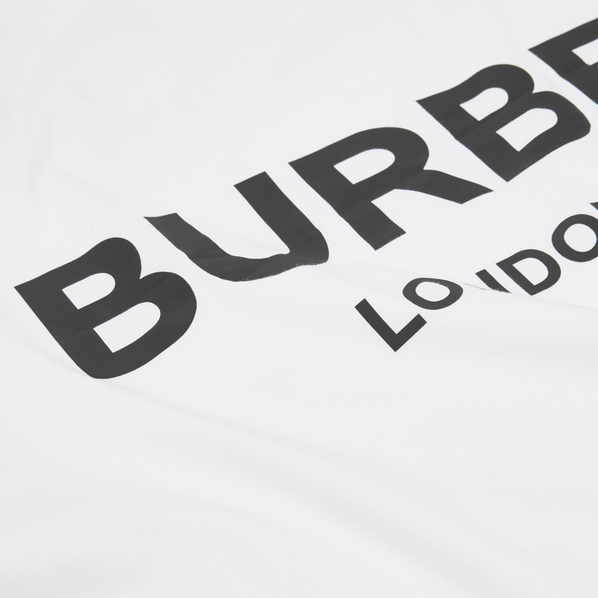 Logo Print Cotton Jersey Baby Blanket in White - Children | Burberry United Kingdom - gallery image 1