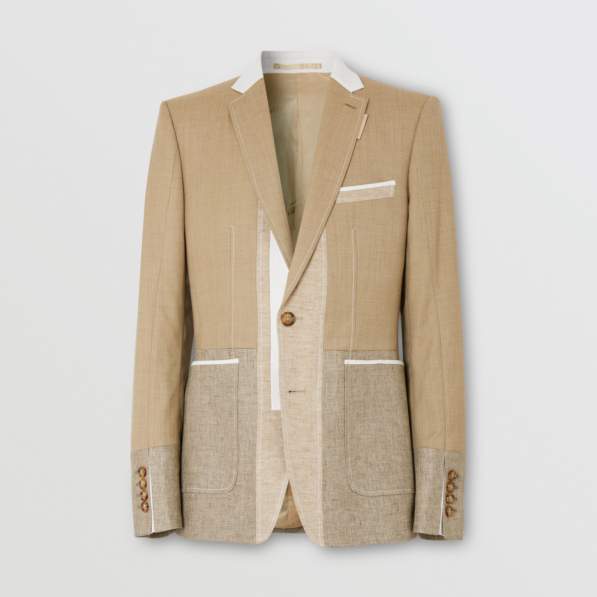 English Fit Wool Cashmere and Linen Tailored Jacket in Pecan Melange - Men | Burberry - 4