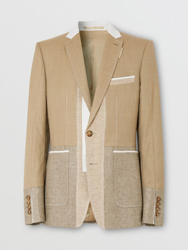 English Fit Wool Cashmere and Linen Tailored Jacket in Pecan Melange | Burberry - cell image 3