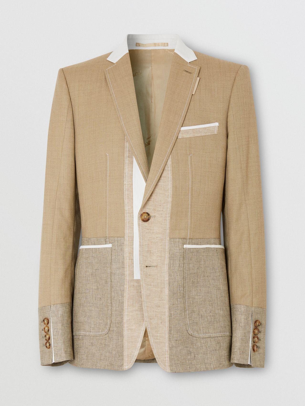 English Fit Wool Cashmere and Linen Tailored Jacket in Pecan Melange