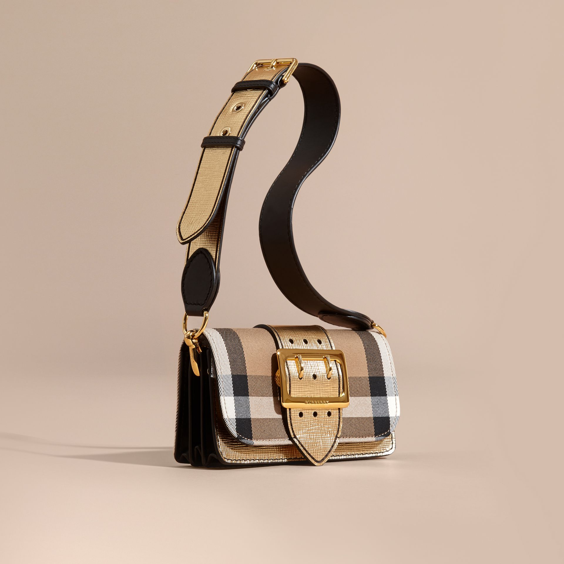The Small Buckle Bag in House Check and Leather Gold - gallery image 1