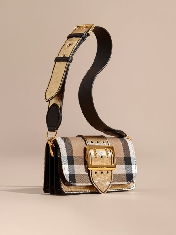 The Small Buckle Bag in House Check and Leather in Gold