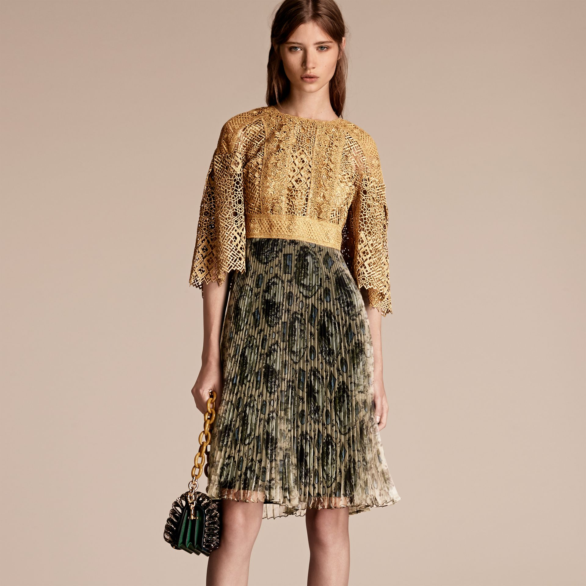 Gold Macramé and Pleated Organza Fit and Flare Dress - gallery image 6