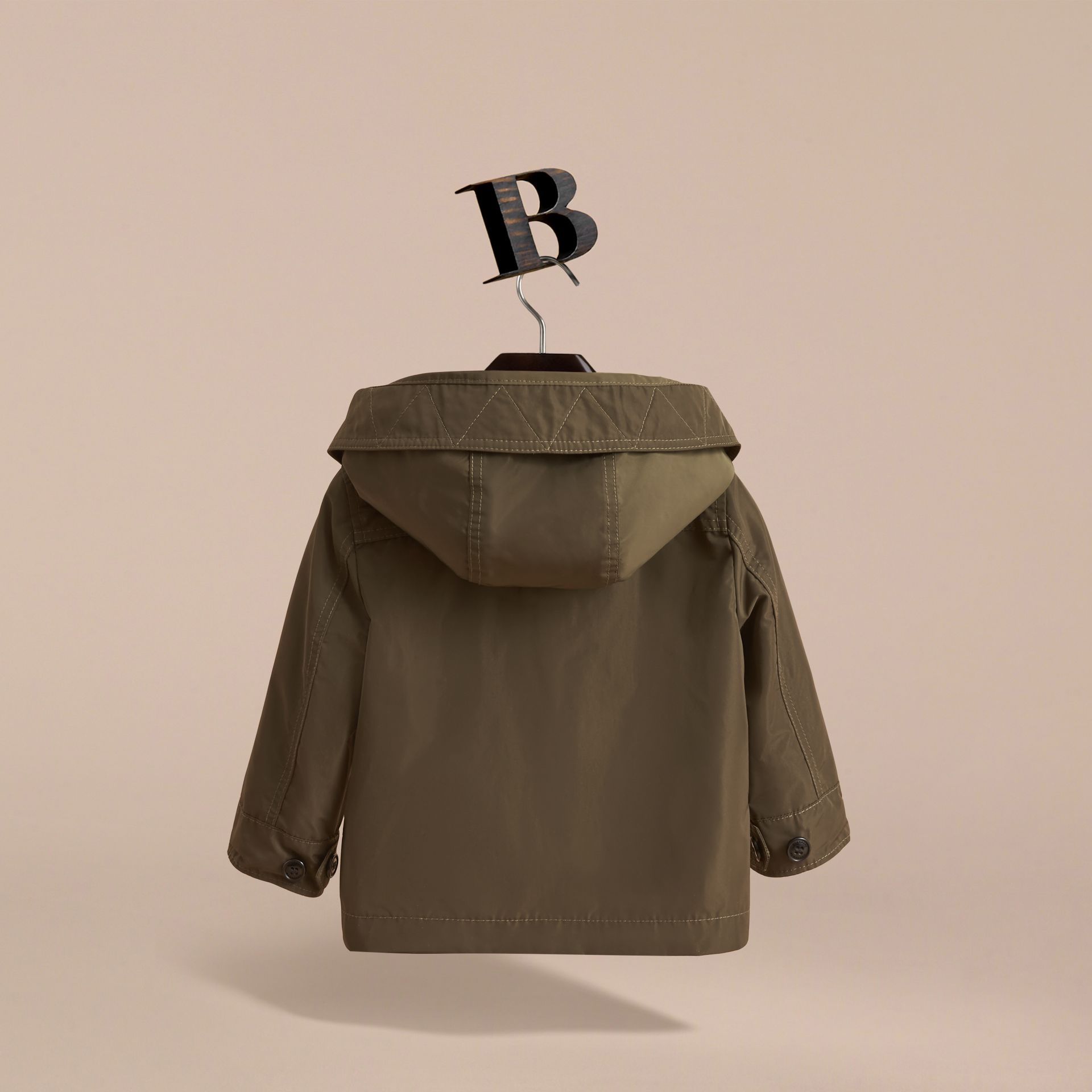 Hooded Lightweight Shape-Memory Field Jacket in Khaki - Children | Burberry Australia - gallery image 4