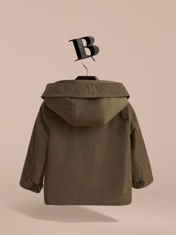 Hooded Lightweight Shape-Memory Field Jacket in Khaki - Children | Burberry Australia - cell image 3