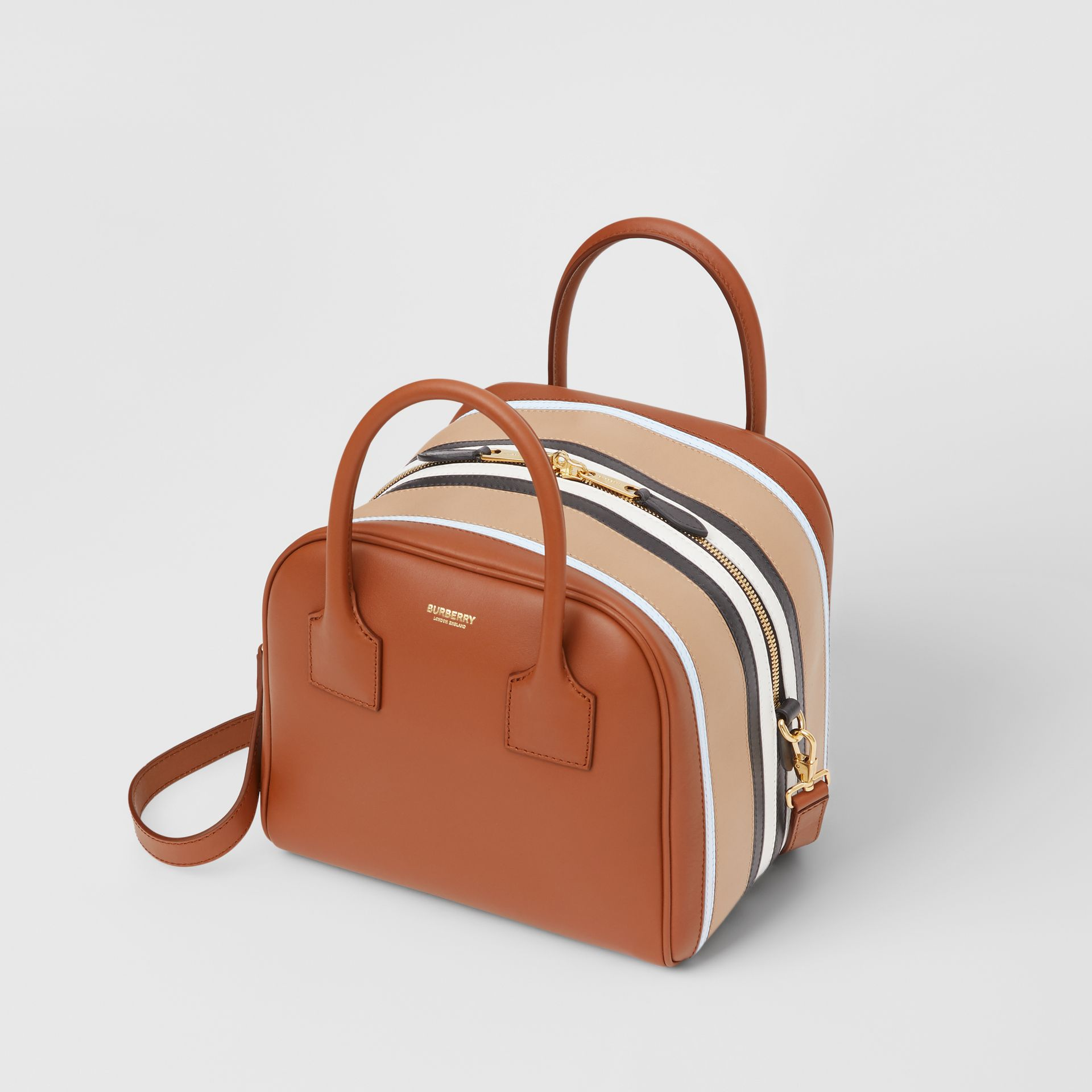 Small Stripe Intarsia Leather Cube Bag in Malt Brown/pale Blue - Women | Burberry United Kingdom - gallery image 3