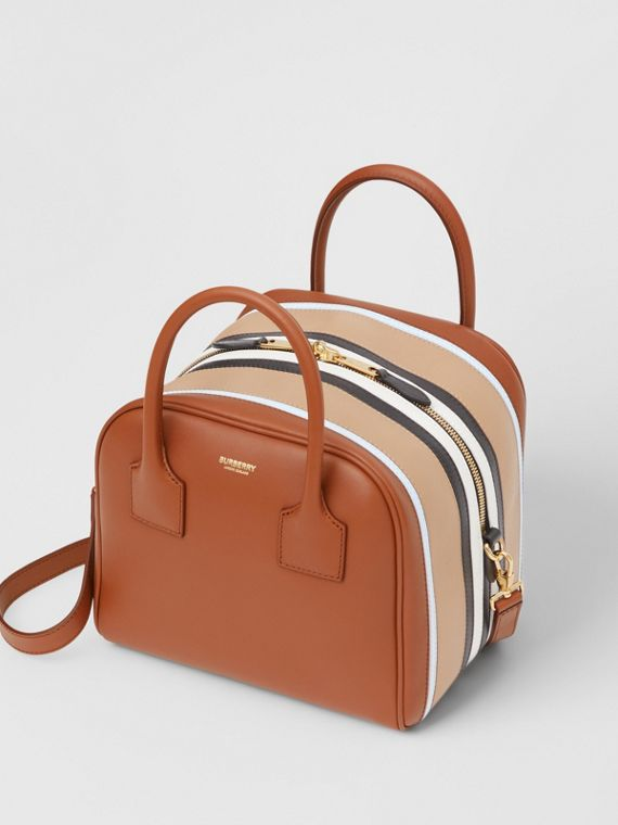 Small Stripe Intarsia Leather Cube Bag in Malt Brown/pale Blue