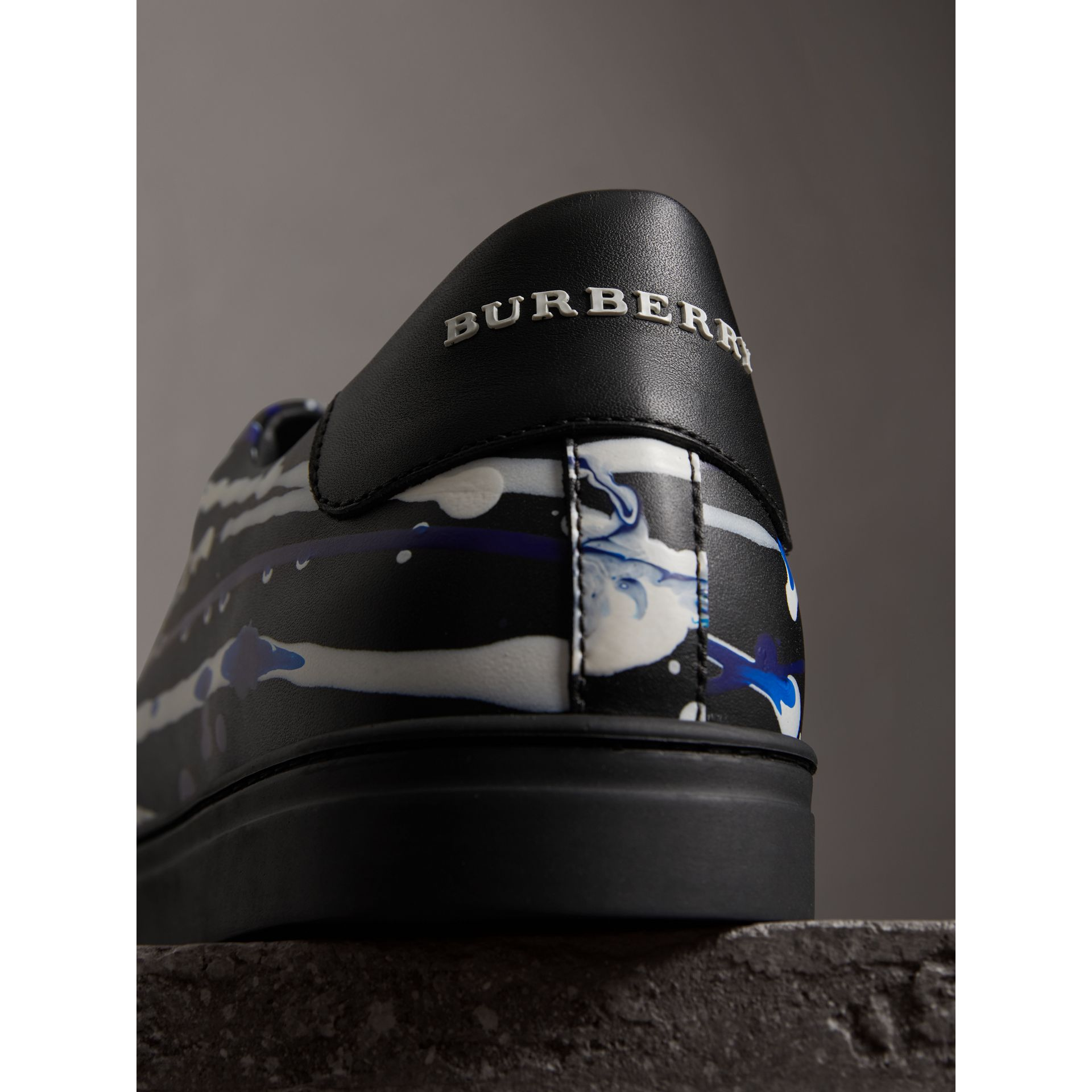 Splash Leather Sneakers in Black - Men | Burberry - gallery image 1