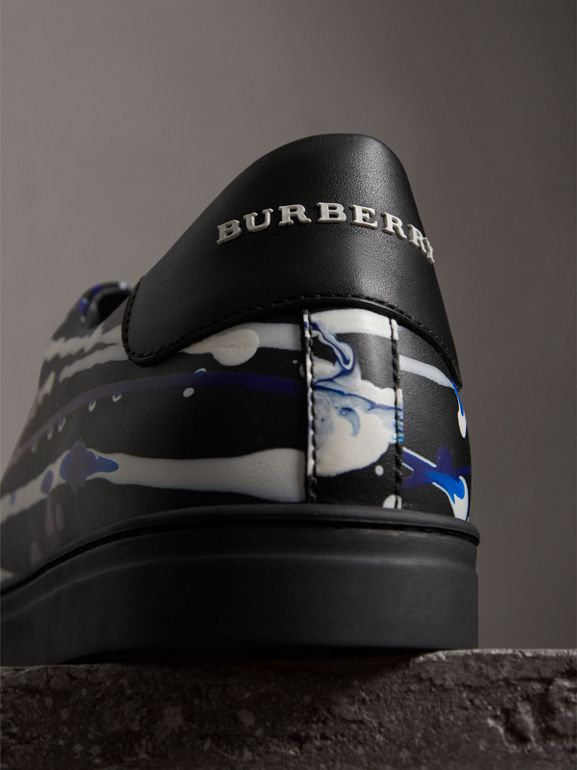 Splash Leather Sneakers in Black - Men | Burberry - cell image 1