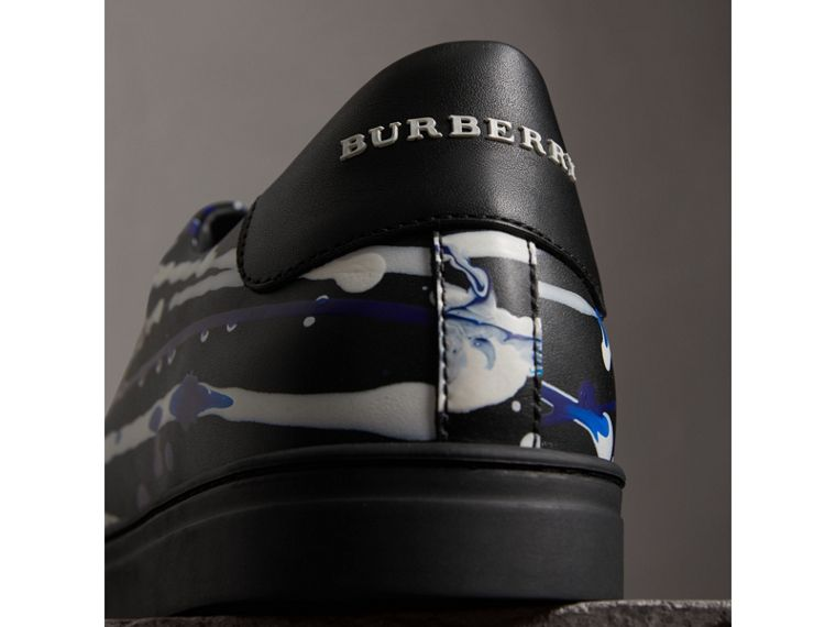 Splash Leather Sneakers in Black - Men | Burberry United States - cell image 1