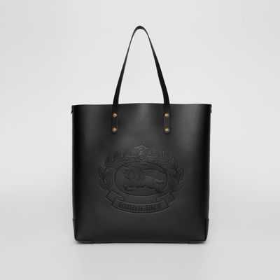 Embossed Crest Leather Tote by Burberry