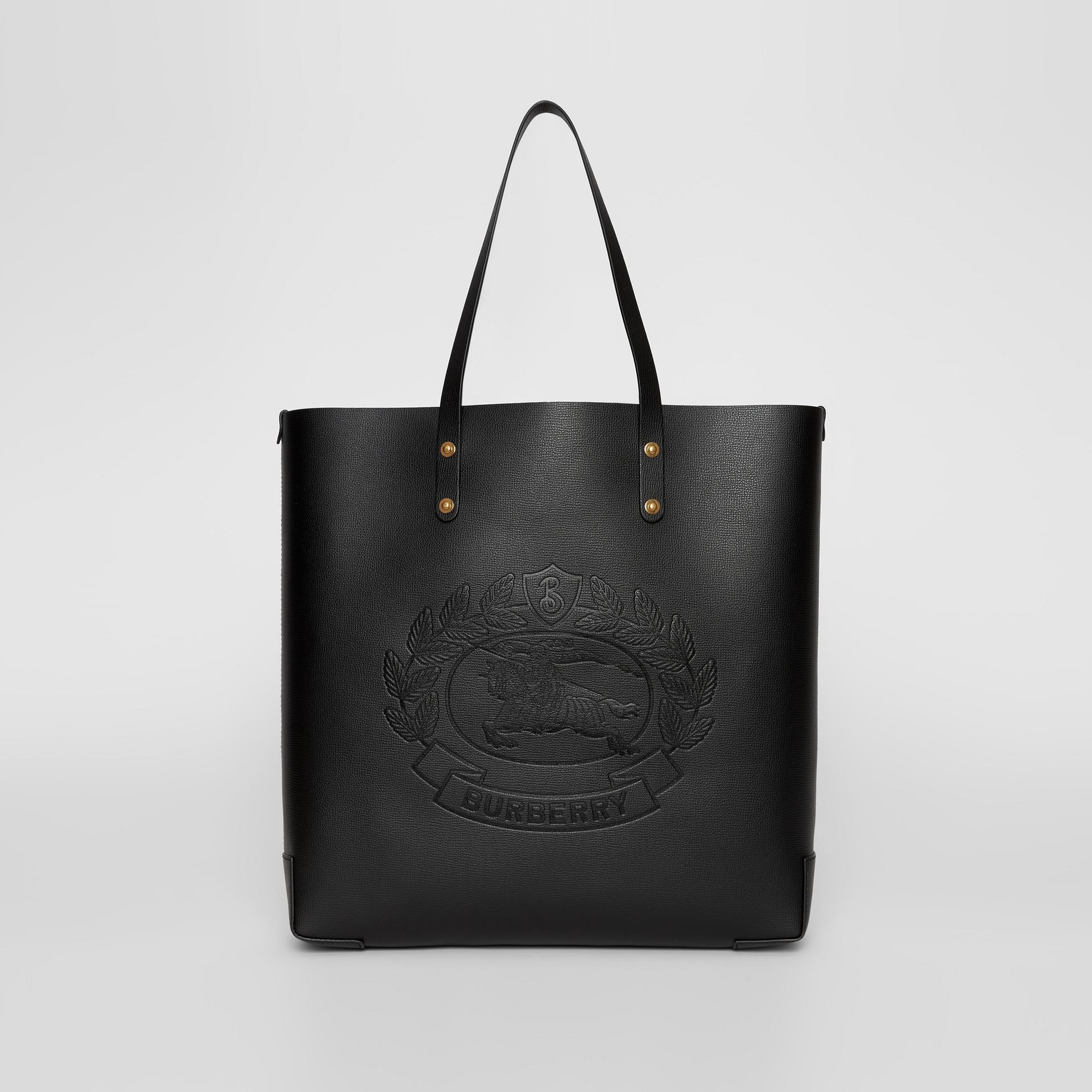Embossed Crest Leather Tote in Black | Burberry Canada - gallery image 0