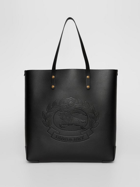 1714daeee9d7 Large Embossed Crest Leather Tote in Black