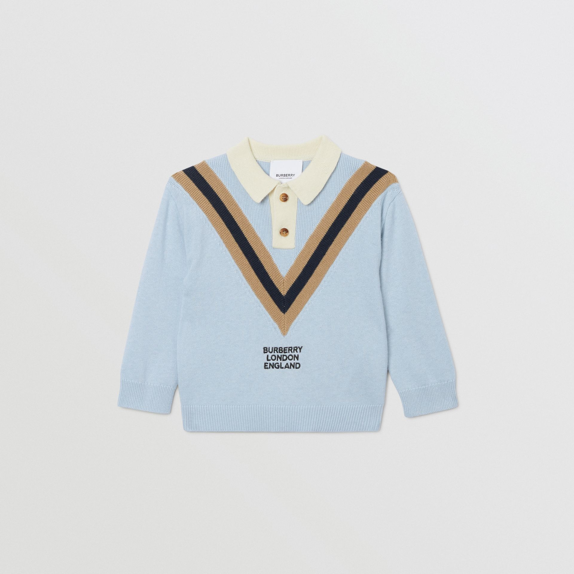 Long-sleeve Knit Cashmere Cotton Polo Shirt in Light Blue - Children | Burberry United States - gallery image 0