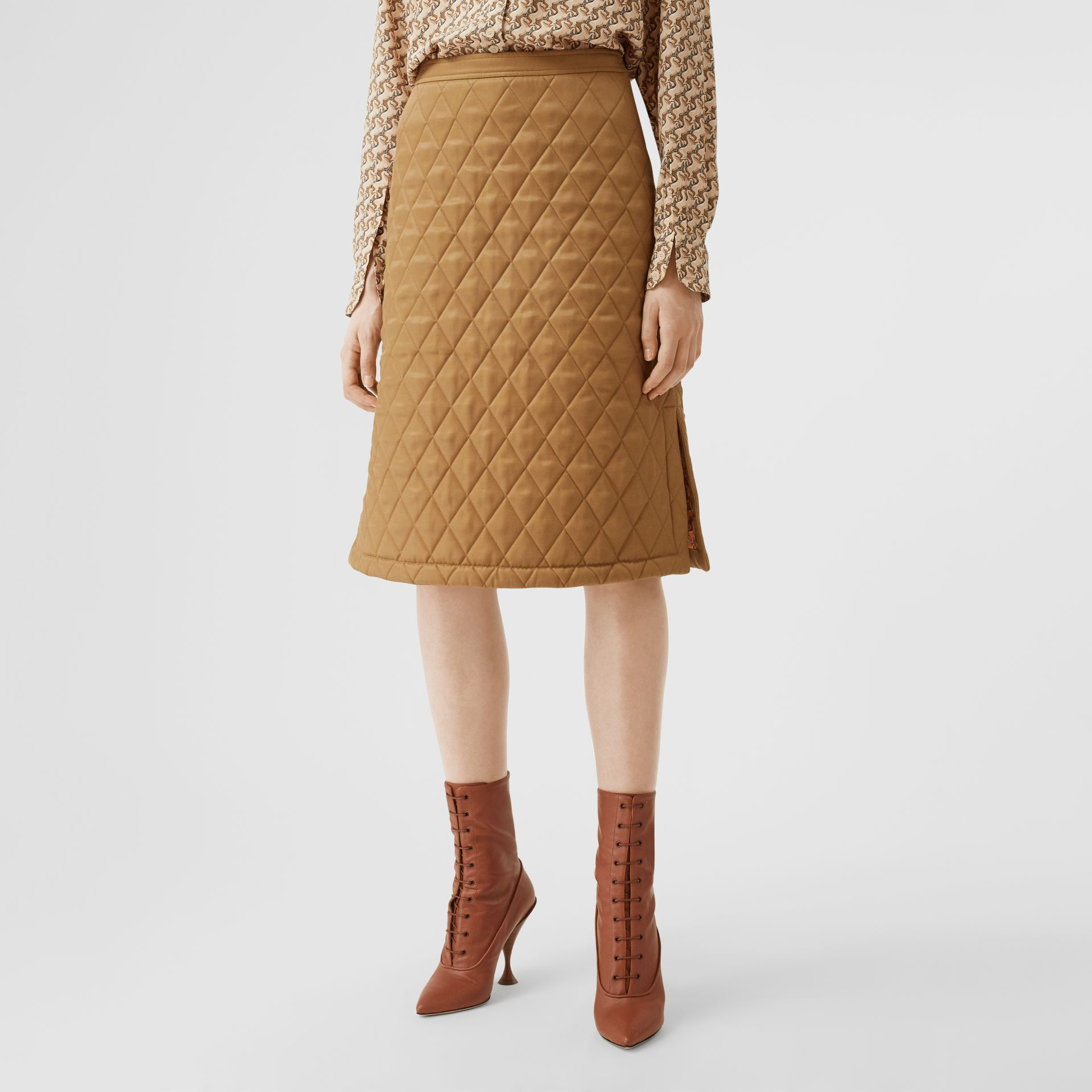 Diamond Quilted Twill A-line Skirt in Camel | Burberry United Kingdom - gallery image 5