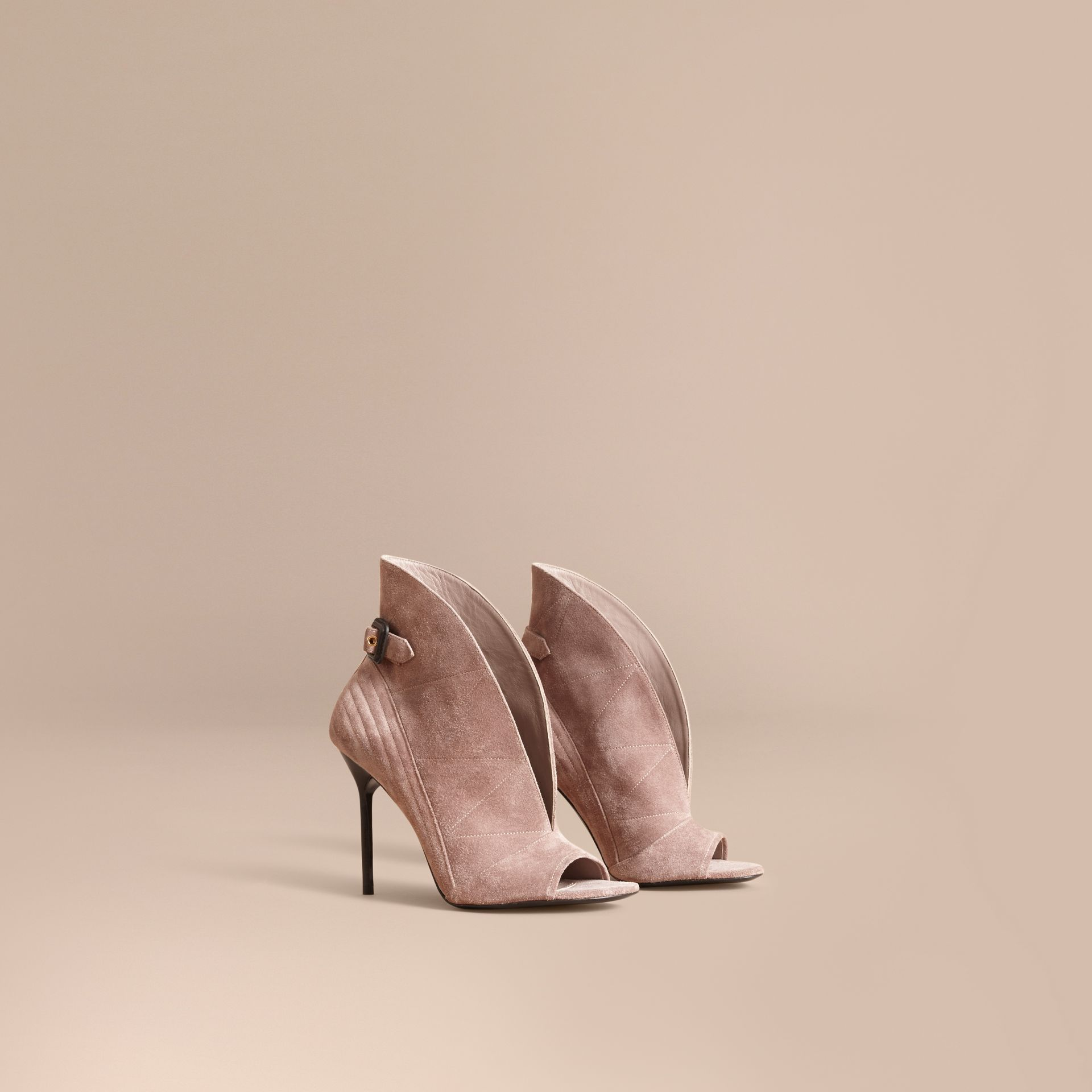 Buckle Detail Suede Peep-toe Ankle Boots in Ivory Pink - Women | Burberry - gallery image 1