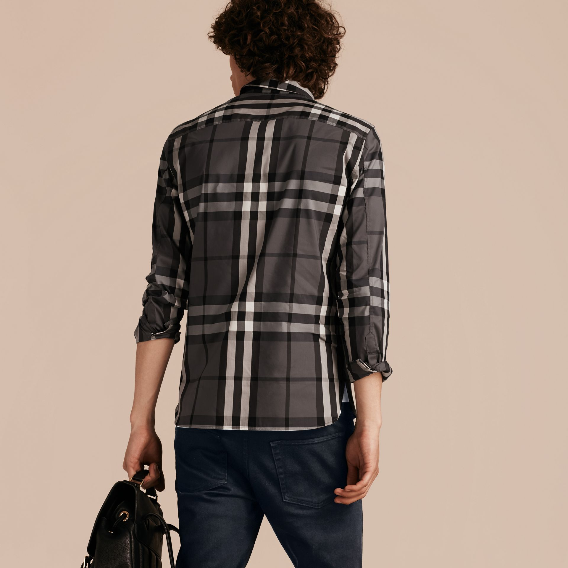 Check Stretch Cotton Shirt in Charcoal - Men | Burberry Australia - gallery image 3